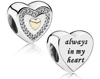 Authentic Pandora Sterling Silver Always in My Heart Charm 14k