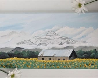 Heart Mountain Painting, Sunflower art, original acrylic art on canvas, 10 x 20 wall art, wall decor, mountain in snow