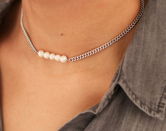 Pearl Choker Necklace - Curb Chain Choker - Delicate Pearl Choker - Freshwater Pearl Necklace - Layering Necklace - Gift for Her
