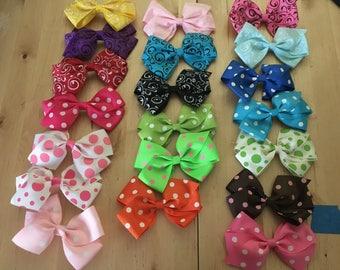 Girl's Hairbows, Alligator clip, polka dot bows