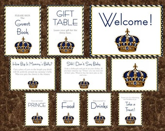 Royal Baby Boy Baby Shower Table Signs Decorations
