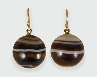 Antique Victorian Banded Agate Drop Earrings in 9ct Gold