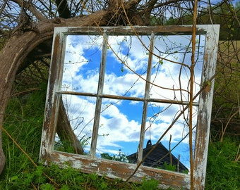 vintage antique farm window sash frame 6 pane very old rustic cottage wedding country picture portrait mirror panes shabby chic distressed