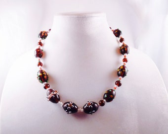 Brown and White Dots Necklace