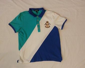 Vintage Polo Ralph Lauren Polo Sailing Shirt Blue/white/teal/gold rare