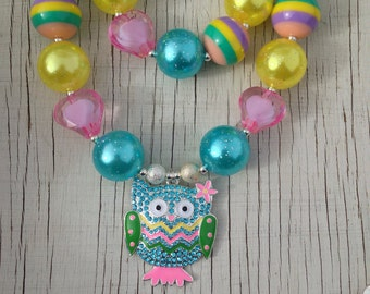 Spring owl stretchy bubblegum necklace owl rhinestone pendant gumball necklace photo prop party Easter aqua pink yellow green