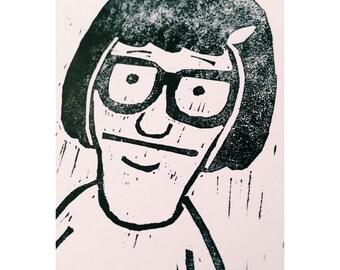 Original Bobs Burgers Lino Print | Tina | Dina | Cartoon | Animation | Bob Belcher | Sitcom