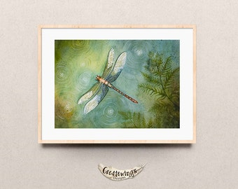 Dragonfly Watercolor Print, Dragonfly Art Print, Dragonfly Wall Art, Dragonfly Watercolor Art Print, Dragonfly Spirit Animal,