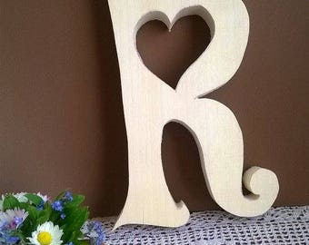 Letter R, Wooden Wedding letters , Free standing letters- 9 inch, Wedding letters , Wooden initials, table decor large wooden letters 23 cm