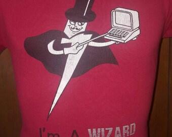 Vintage 80's I'm A Wizard Computer Geek / Nerd 50/50 T-shirt Medium Jerzees By Russell