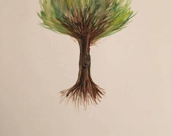 Small watercolor tree painting A5