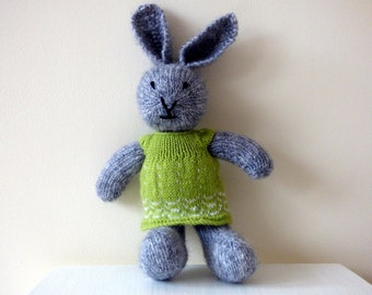 Knit Bunny Rabbit, Knitted Rabbit, Hand Knitted Animal, Easter Bunny, Woodland Animal, Girl Rabbit Wearing Green Dress, Plushie Rabbit