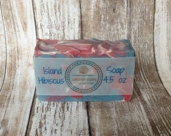 Handmade Soap in Island Hibiscus Scent, Floral Scented Women's Soap, Gift for Her