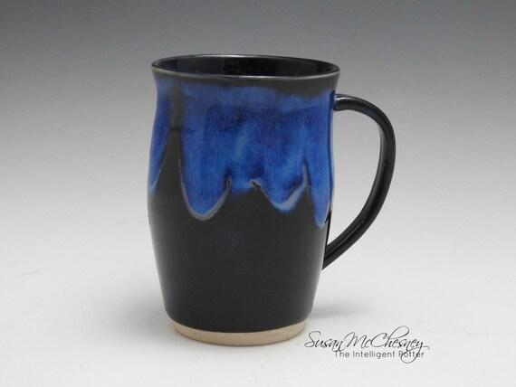 Handcrafted Stoneware Coffee/Tea Mug with Beautiful Bright Blue Around Rim and Handle