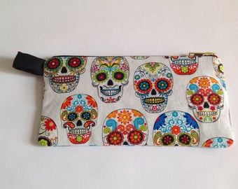 White fabric Sugar skull iphone pouch, Pencil case, , for stationary, cosmetics, makeup