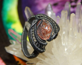 Sun Stone Wire Wrapped Ring