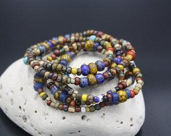 Men's Beaded Bracelet, Antique African Goomba/Krobo Beads, Dyed Indian Bone, Matte Czech Glass Beads, Ozark Bracelet