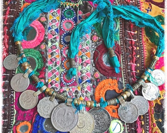 Mega Kuchi Coin & Recycled Sari Silk Necklace