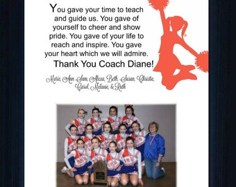 Cheer Coach Gift thank you gift personalized verse  picture frame