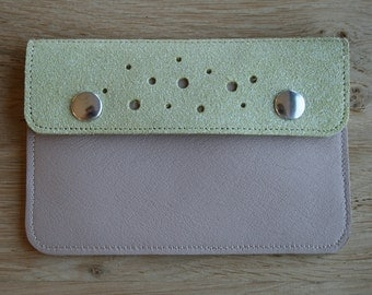 Small leather wallet with snap flap