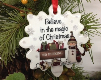 Christmas Magic Ornament, Personalize Ornament, Snowman Ornament, Porcelain Ornament, Believe Ornament, Stocking Stuffer, Gift under 10