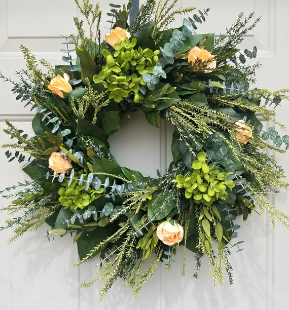 "18"" preserved lemon leaf wreath, peach wreath, leaf wreath, salal wreath, preserved wreath, leafy wreath, farmhouse wreath"