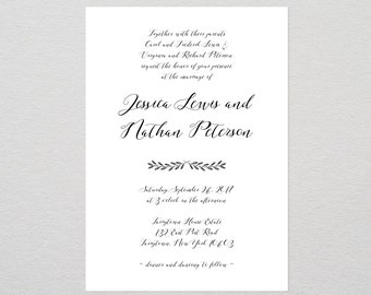Wedding Invitation Template, Rustic Wedding Invite, Calligraphy, DIY Printable File, Editable Text, Instant Download, PDF Template #024A