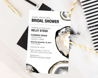 Geode Black, White and Gold Bridal Shower / Birthday Invitation
