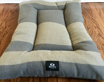 SALE - Wool Stripes Dog Bed, Dog Crate Bed, Puppy Bed -Gray