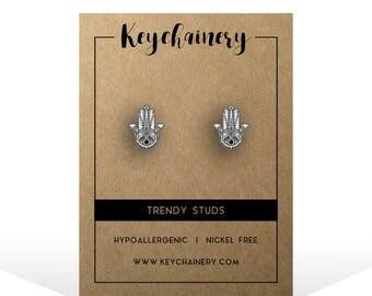 Hamsa Stud Earrings - Peaceful Studs - The Hand Of Fatima - Ethnic Studs - Nickel-free Stud Earrings
