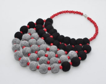 Felted Necklace Felt Ball Necklaces Textile Accessories Gray black and red felt necklace Women Accessory Wool jewelry Felted Ball Jewellery