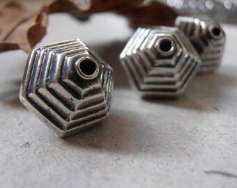Hexagon Shaped Bead - White Metal