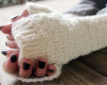 Wool Fingerless Gloves for Her, Knit Fingerless Gloves, Long Wool Gloves, Warm Gloves Gift, Gloves Hand Knit, White Wool Gloves