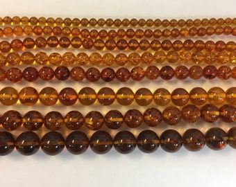 Genuine baltic Amber beads 4MM through 12MM