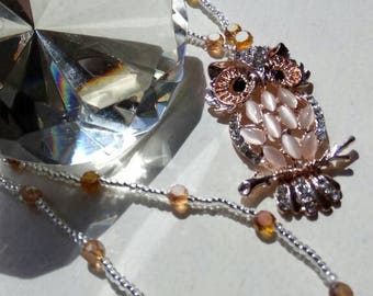 Crystal Beaded Owl Pendant