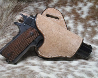 Rough Out Leather Carry Holster for Small, Medium, Large Frame Pistols, Cowhide leather, Natural Leather, Concealed or Open Carry Holster