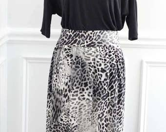 Black and White Leapord Skirt
