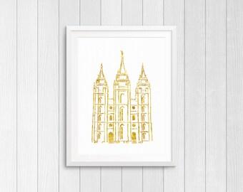 Gold Leaf Salt Lake Temple Printable | LDS Temple | Instant Digital Download