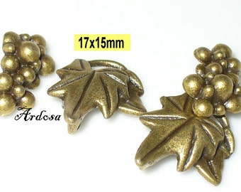 2 toggle closures, Toogle, grape, vine, leaf, bronze (K123. 17)
