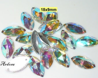 20 connectors, sequins, Navette, acrylic, Crystal from (1102)