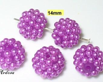 5 ball beads of purple 14 mm resin (K647. 3)