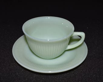 Jadeite Cup and Saucer, Fire King Jane Ray Cup and Saucer, Collectible Glass, Fire King Ovenware Made in U.S.A, Jadite Cup and Saucer Set