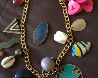 Vintage Necklace with Charms Pendants Gold Color