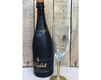 Personalized Gold Glitter Champagne Glass