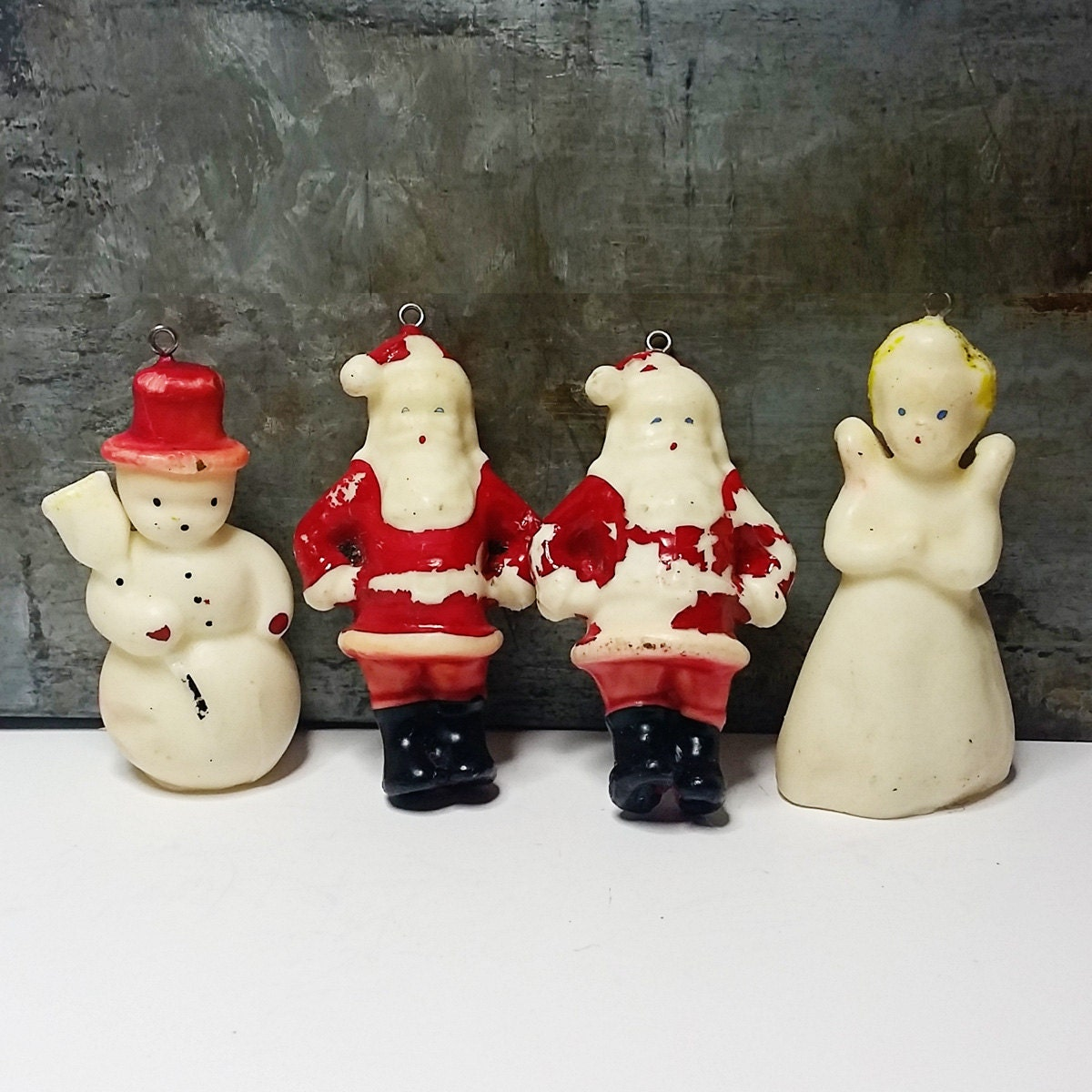 Details 4 Vtg Tavern Gurley Wax Christmas Hollow Candle Ornaments