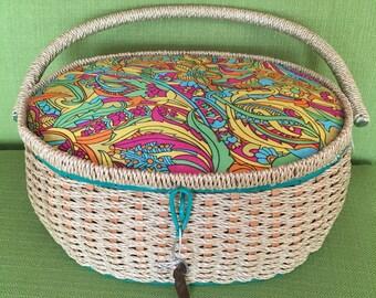 Vintage 60s Psychedelic Flower Design Wicker/Rattan Sewing Basket/Storage with Green Trim/Light Green Satan Interior