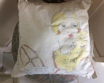 REDUCED! Art Deco 1920's Flapper Pillow, Embroidery and Painted, Driving Auto
