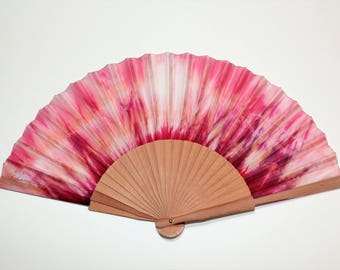 Silk Hand Fans, Hand Painted. Handmade pink  hand fan. Gift for her. Birthday gift. For Bridesmaid . Fashion accessories. Spanish Hand Fan.