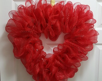 Heart Shaped Red Deco Mesh Wreath