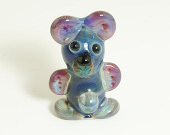 Blue Lightning Bear Glass Pendant